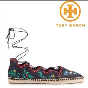 NWT Tory Burch Espadrilles Embroidered Flat Shoes